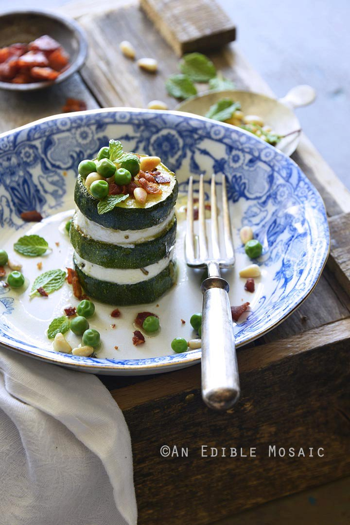 Zucchini and Goat Cheese Stacks with Fresh Mint, Pine Nuts, and Crispy Prosciutto