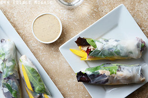 Mango Coconut Chicken Rolls with Spring Mix and Sesame-Ginger Sauce