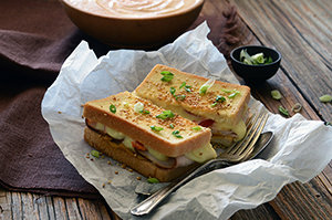 Satay-Inspired Turkey Grilled Cheese with Nutty Masala Sauce