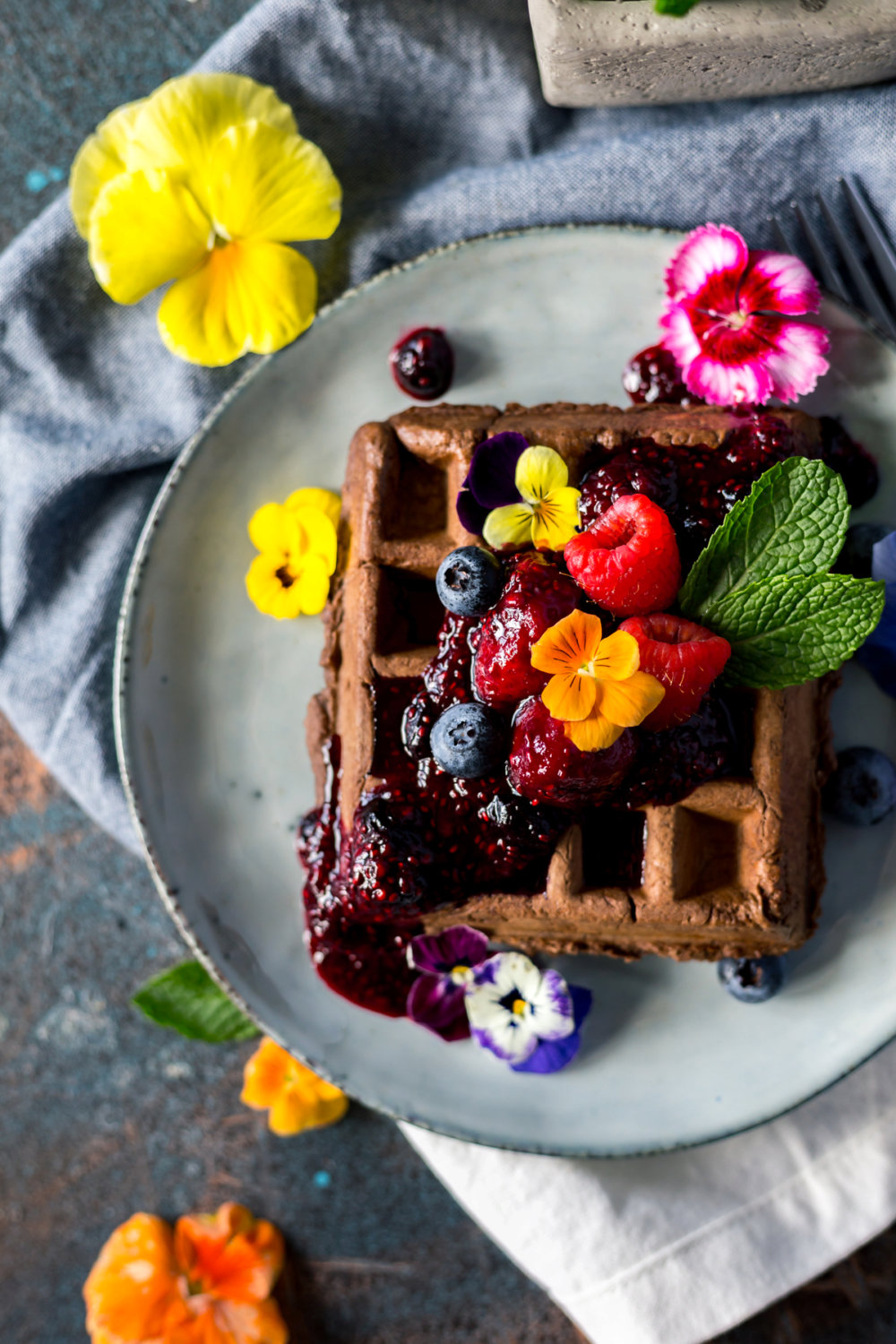 Sweet and Savory Chocolate Waffles with Triple Berry Compote
