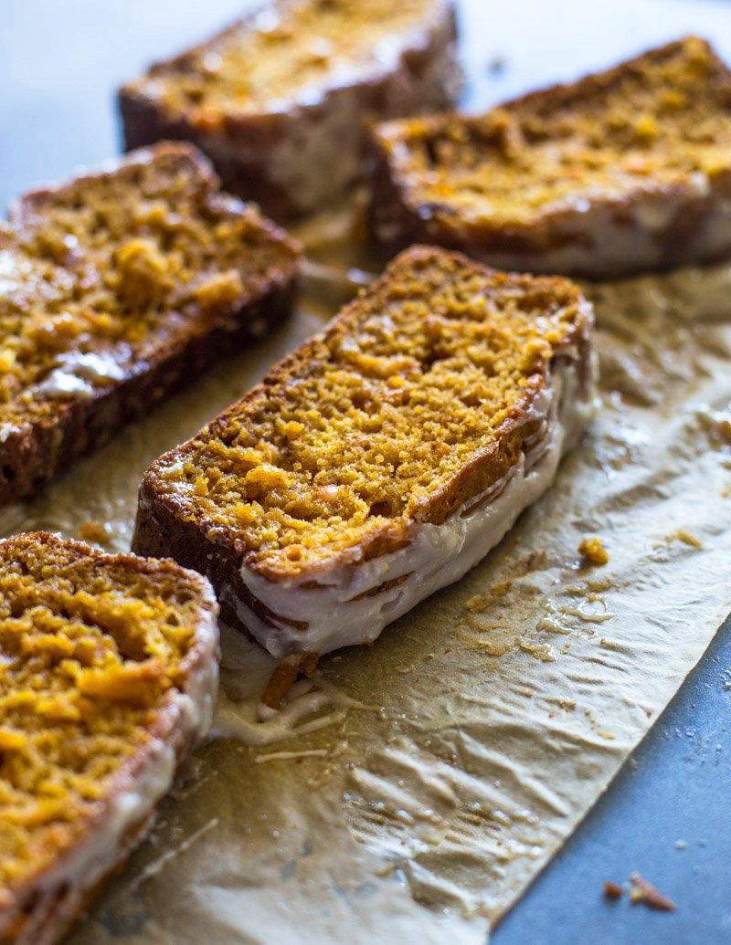 Lightened up Sweet Potato Bread with Cream Cheese Icing