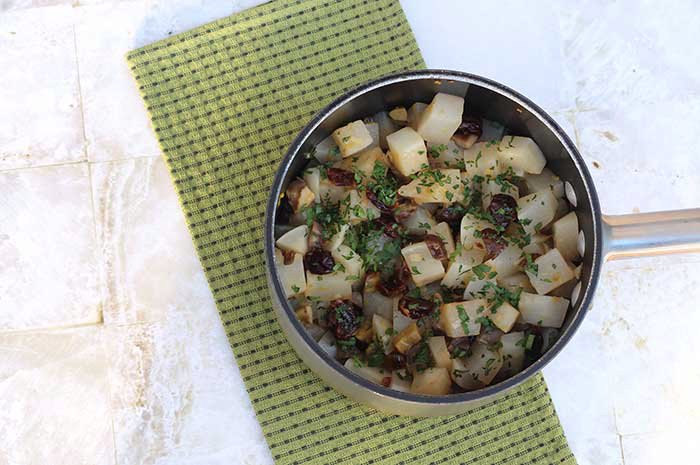 Cider-Braised Turnips with Chestnuts and Cherries