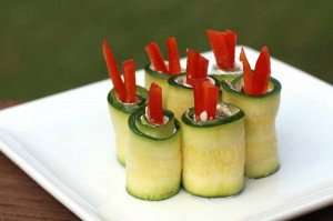 Zucchini Roll-ups with Goat Cheese and Peppers