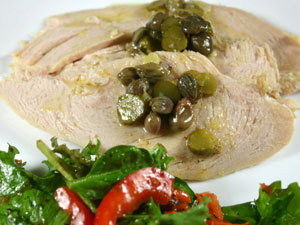 Poached Turkey Breast Salad with Lemon, Capers, Cornichons and Mint