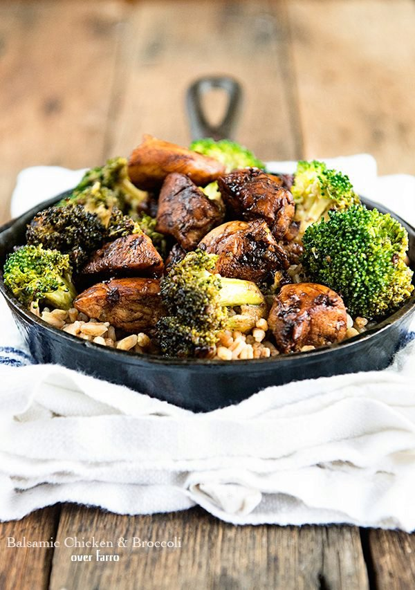 Balsamic Chicken and Broccoli Over Farro