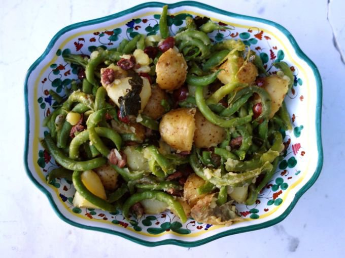 green bean, potato and olives