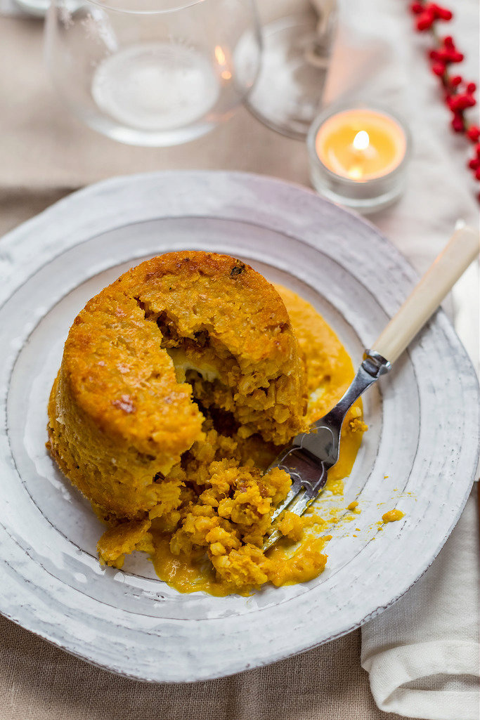 Rice timbale with pumpkin and sausage