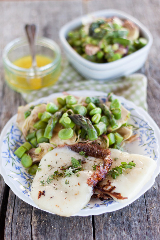 Spring warm salad with grilled pecorino cheese