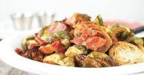 Roasted Brussels with Bacon and Cinnamon