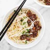 Miso-Coated Pork Belly with Noodles in Broth