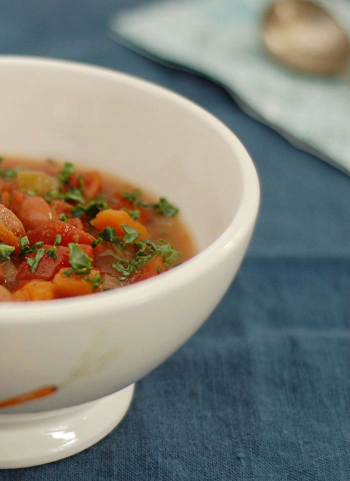 Italian Slow Cooker Cranberry Bean Soup with Greens
