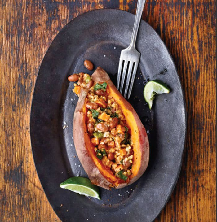 Slow Cooker Bean and Oat Chili over Sweet Potato