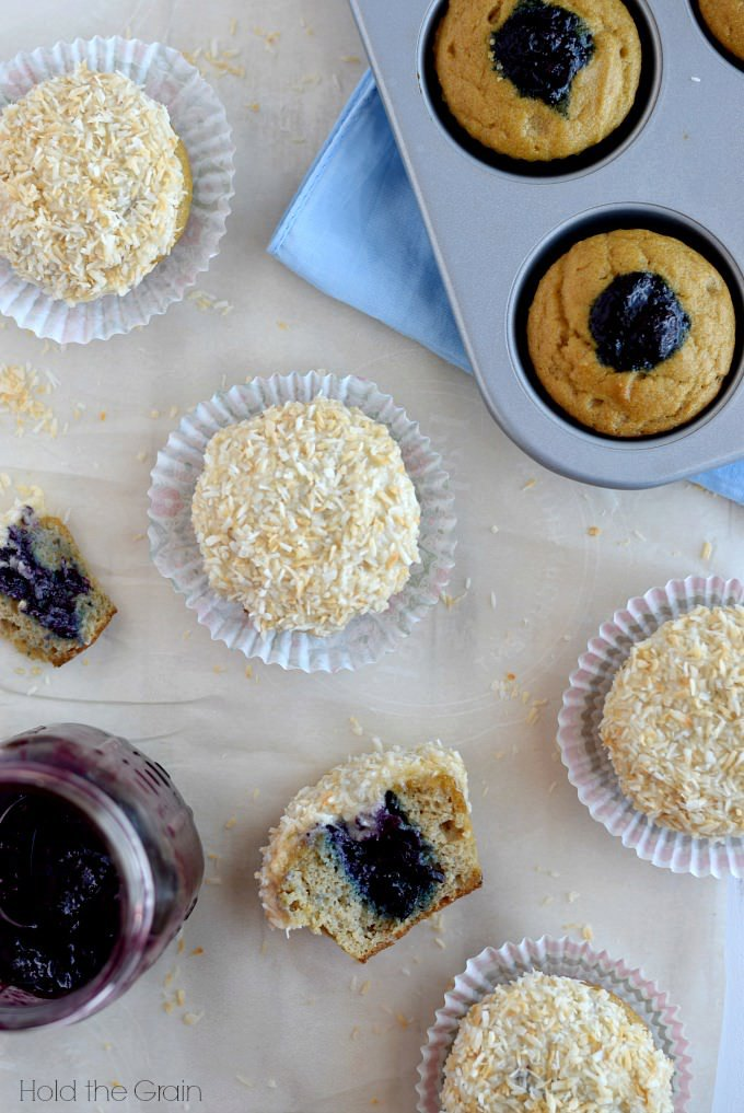 Maple Coconut Cupcakes with Blueberry Filling