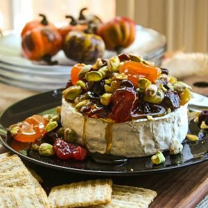 Dried Fruit and Pistachio Baked Brie