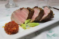 Pepper Crusted Pork Tenderloin with Red Onion Chili Marmalade