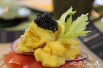 Smoked salmon with scrambled eggs and Caviar