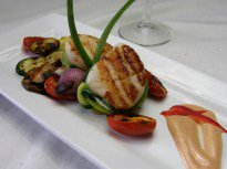 Grilled Diver Scallops with Grilled Vegetables