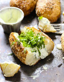 Herby Baked Potatoes with Whipped Feta