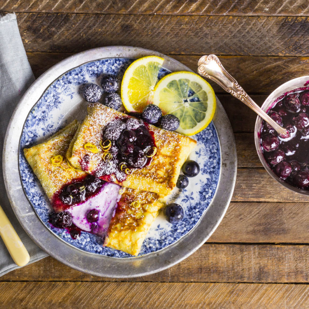 Cheese and Blueberry Blintzes with Blueberry Preserves Syrup