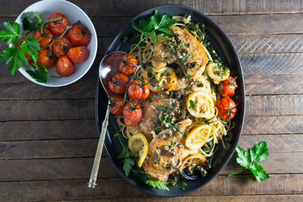 Chicken Piccata with Fried Capers and Roasted Tomatoes