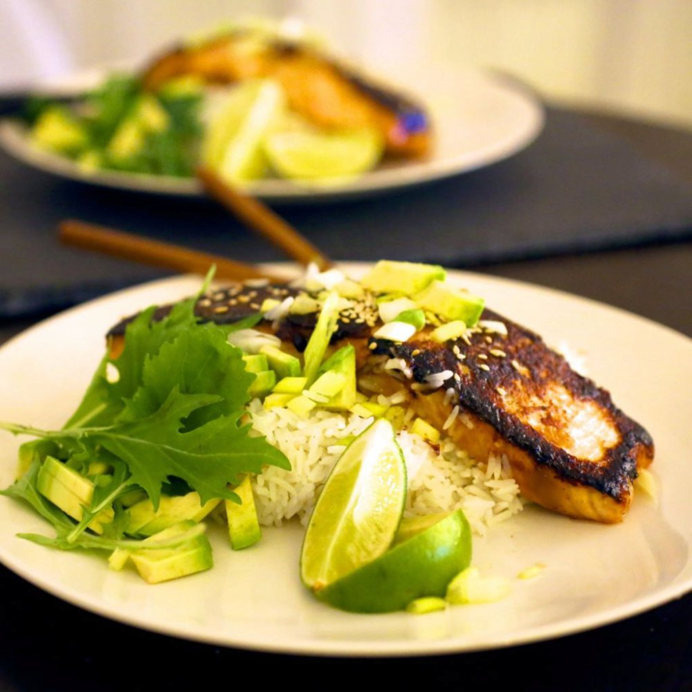 Miso Glazed Crispy-Skinned Salmon
