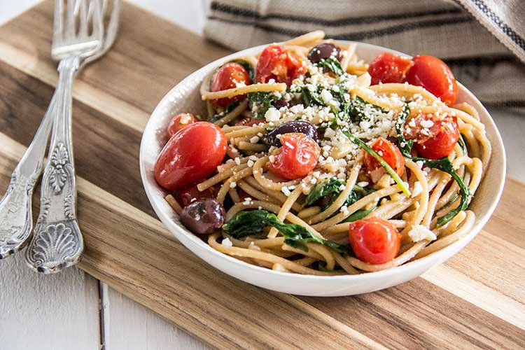 Easy Greek: Pasta with Tomatoes and Feta