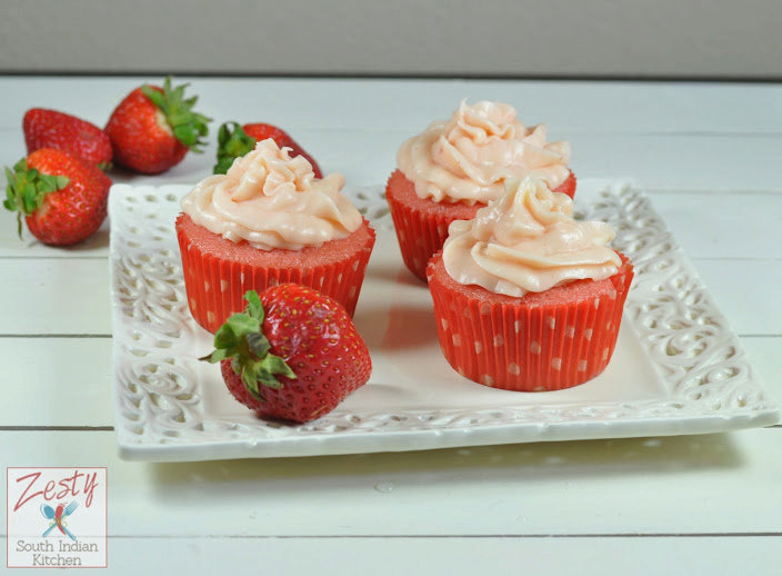 Surprise Strawberry Cupcakes with Strawberry Cream cheese frosting