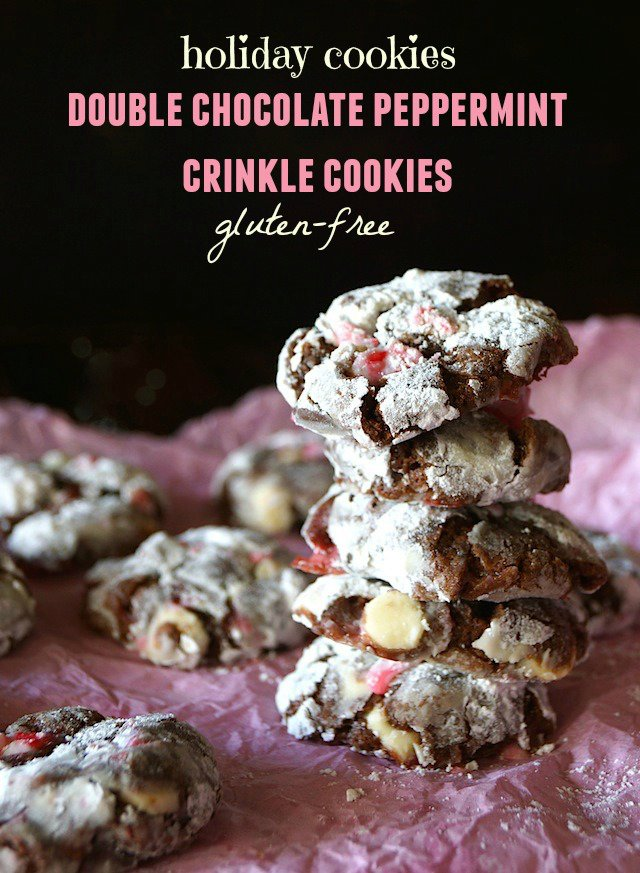 Double Chocolate Peppermint Crinkle Cookies {Gluten-Free Recipe}