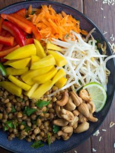 Mango Cashew Lentil Salad with Coconut Lime Dressing