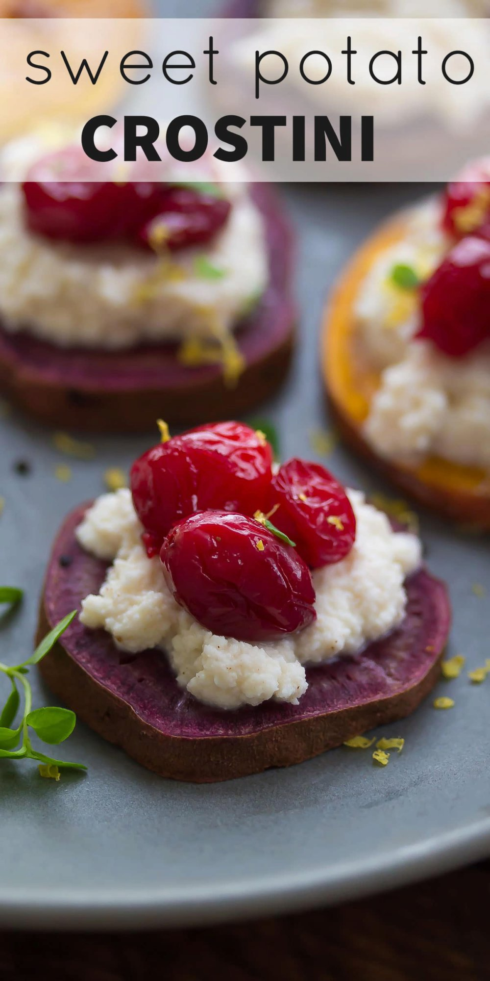 Sweet Potato Crostinis with Spiced Ricotta and Roasted Cranberries