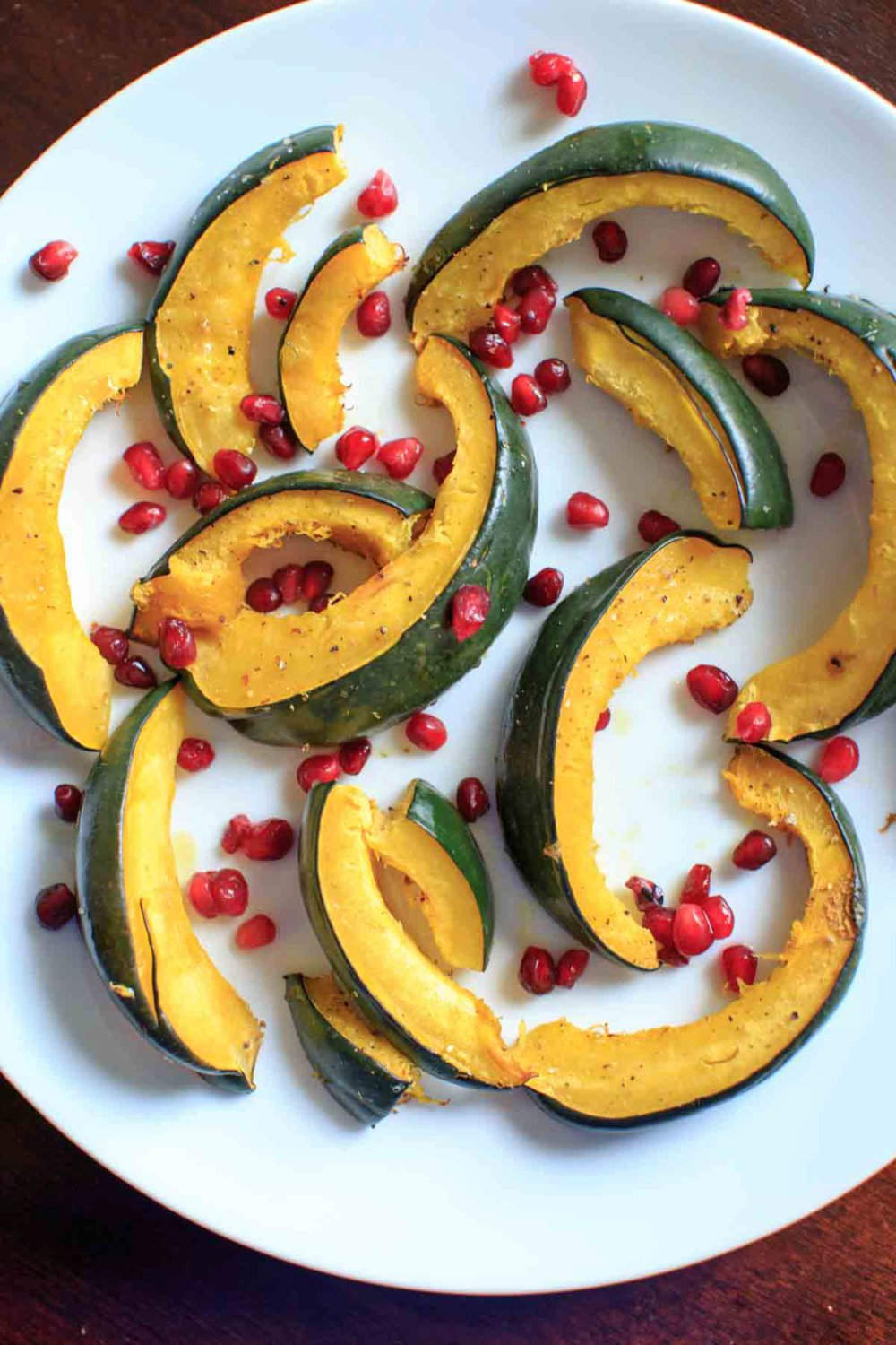 Roasted Acorn Squash with Pomegranate Seeds
