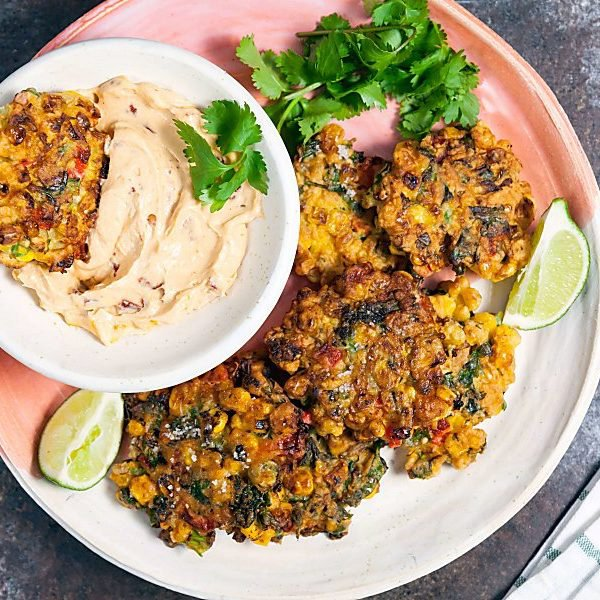 Spicy Corn Fritters with Chipotle Dip