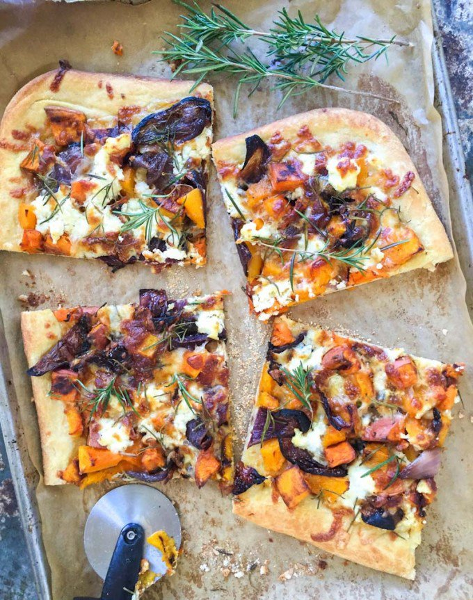 fall roasted vegetable pizza