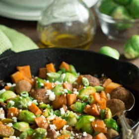 Turkey Sausage Skillet with Brussel Sprouts and Sweet Potatoes