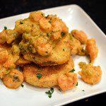 Saute of Shrimp over Fried Green Tomatoes with Warm Remoulade Sauce