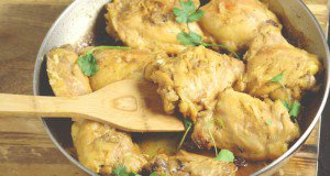 Skillet Chicken Thighs with Shallots in Red Wine Vinegar Sauce