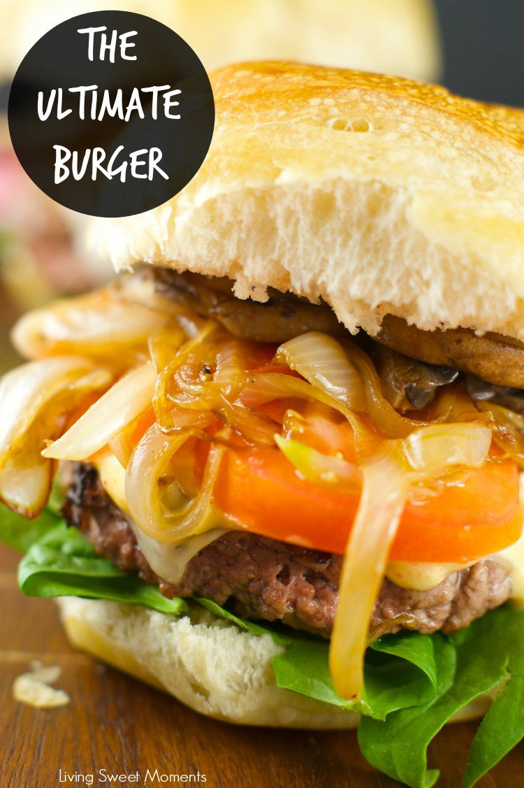 Burger With Caramelized Onions And Mushrooms