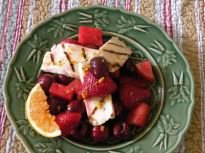 Grilled Halloumi Cheese with Roasted Cherries, Strawberries, and Watermelon