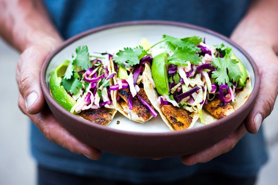 Quick Grilled Fish Tacos with Cilantro Lime Cabbage Slaw