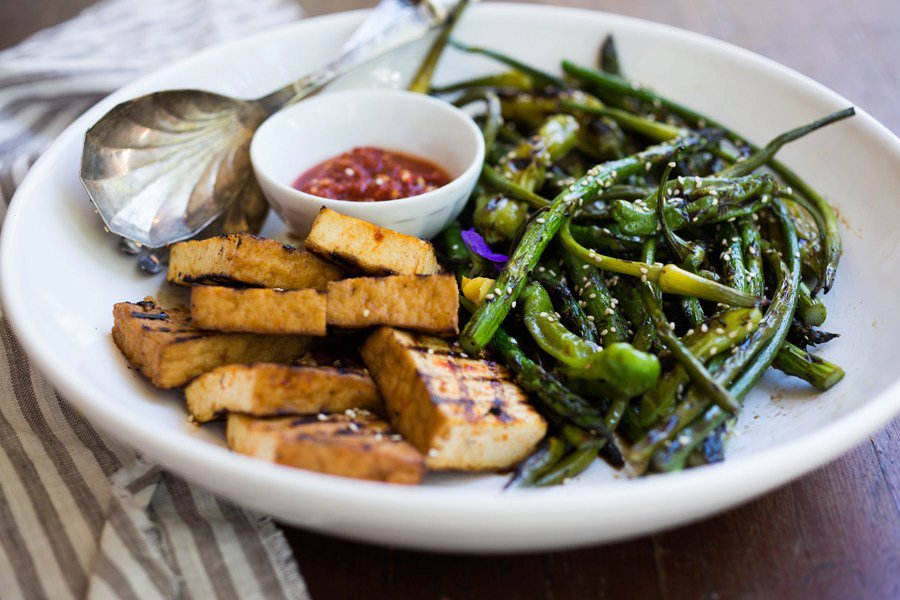 Grilled Garlic Scapes, Asparagus and Shishito Peppers