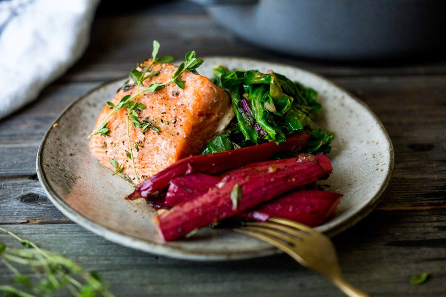 Roasted Salmon and Rhubarb with Wilted Chard