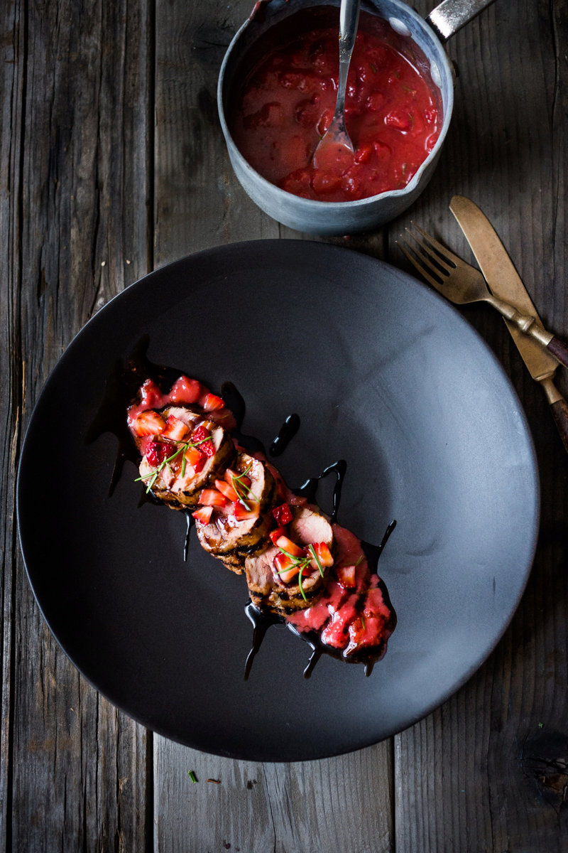 Grilled Balsamic Pork Tenderloin with Strawberries and Rosemary
