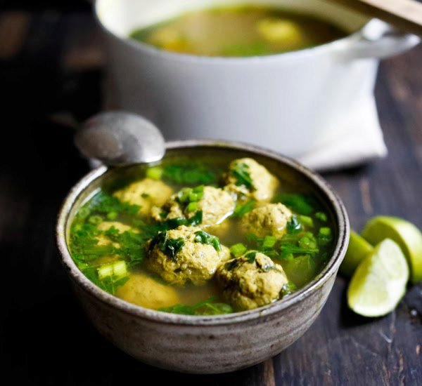 Arabic Meatball Soup with Spinach and Lime