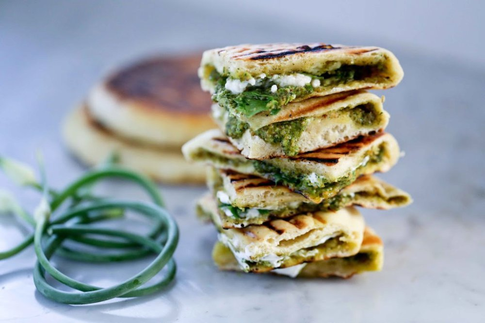 Grilled Naan with Garlic Scape Chutney