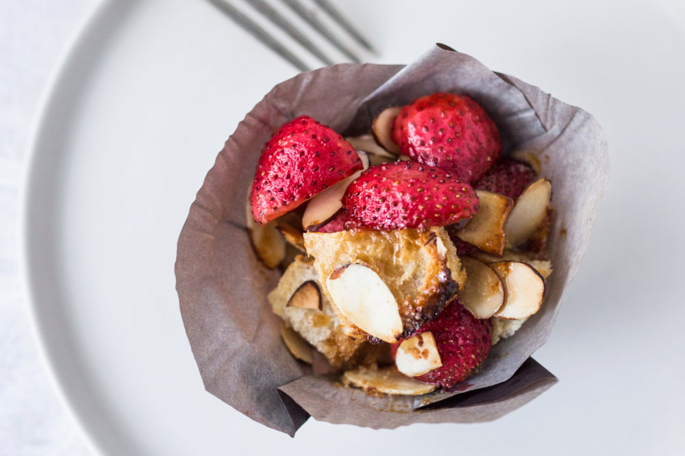 Strawberry Almond French Toast Muffins