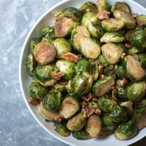 Maple Pecan Roasted Brussels Sprouts