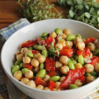 Chick pea, Edamame, and Red Pepper Salad