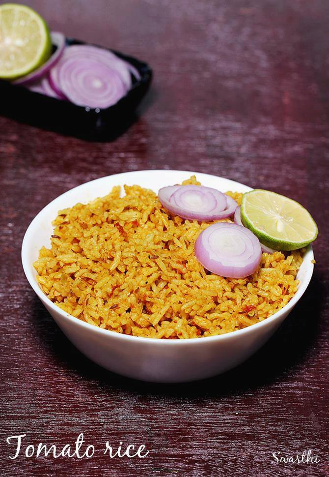 Tomato rice recipe south indian style spicy tomato rice recipe forumfinder Gallery