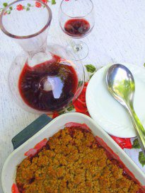 Ruby Red Rhubarb and Strawberry Crumble
