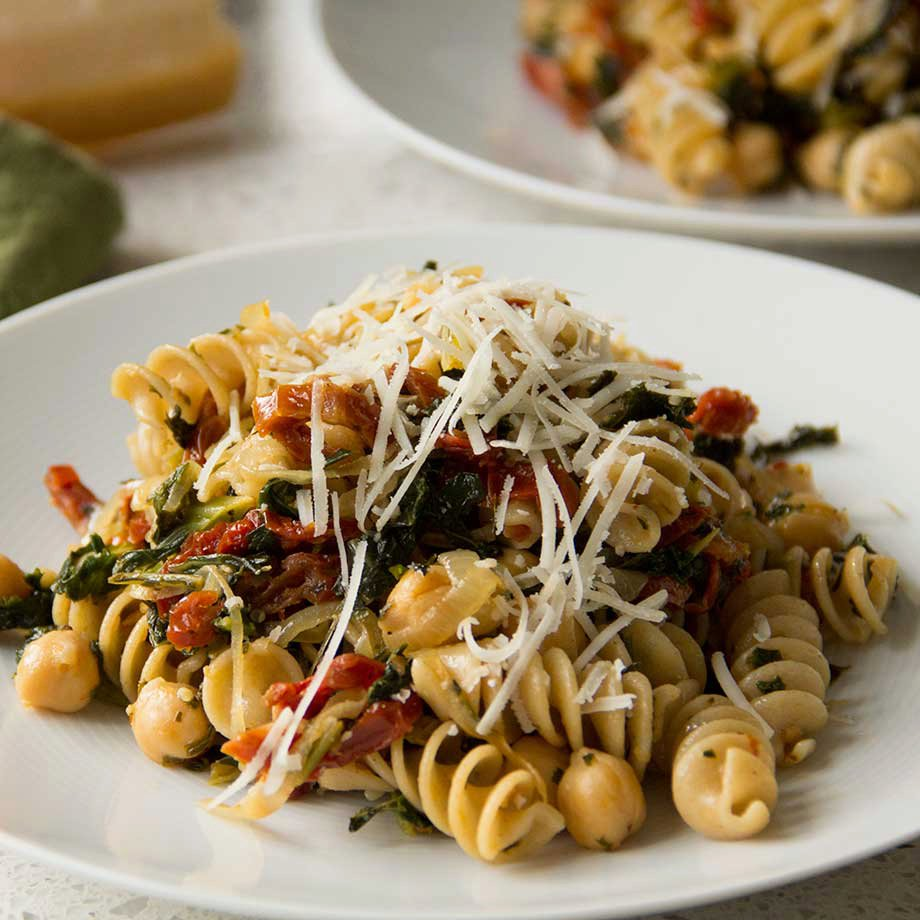 Pantry Pasta with Kale, Chickpeas and Sun Dried Tomatoes